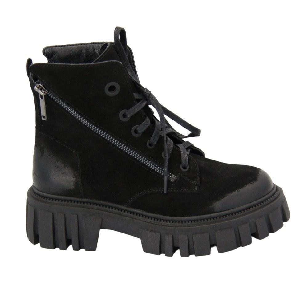Женские черные ботинки на шнурках и две змейки, тракторная подошва демисезонные NEXT SHOES (Турция) Натуральный нубук, арт 21153-3351-2 модель 5074