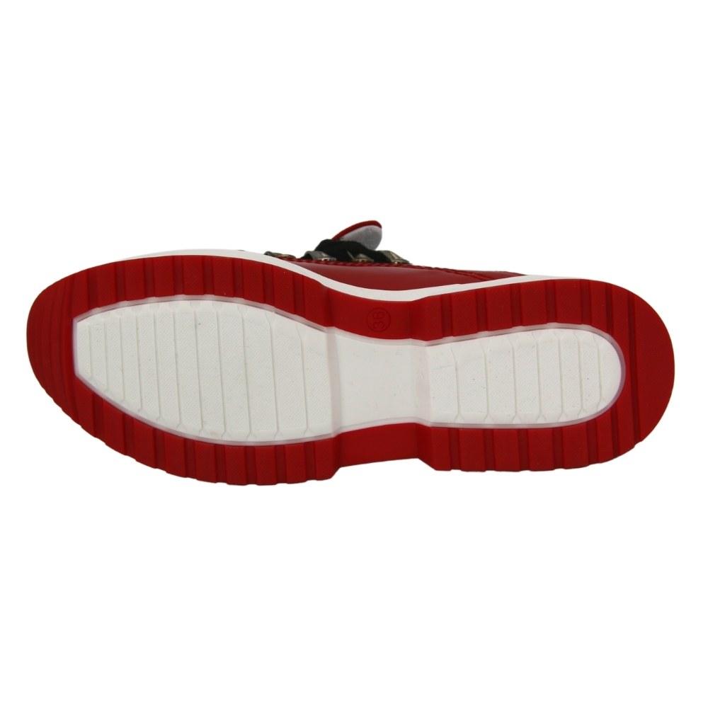 Women's red sneakers demi-season NEXT SHOES (Poland) Genuine leather, art 0694-1 model 5077