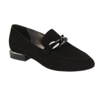 Women's black shoes loafers with low heels, demi-season (Poland) model 5079