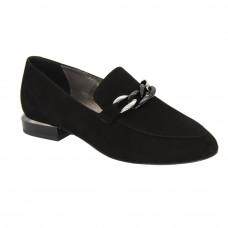 Женские черные туфли лоферы на низком каблуке демисезонные (Польша) модель 5079
