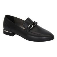 Женские черные туфли лоферы на низком каблуке демисезонные (Польша) модель 5080