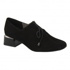 Женские черные туфли на среднем каблуке со шнуровкой демисезонные (Польша) модель 5081