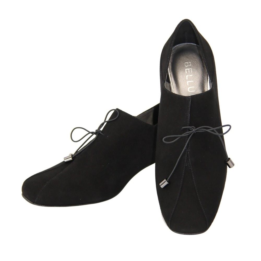 Женские черные туфли на среднем каблуке со шнуровкой демисезонные NEXT SHOES (Польша) Натуральная замша, арт 1404-b-czarny-zamsz модель 5081