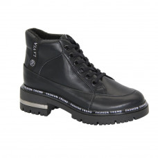 Women's black low shoes with medium heels with lace-up demi-season (Poland) model 5085