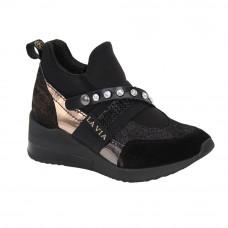 Women's black sneakers demi-season (Poland) model 5086