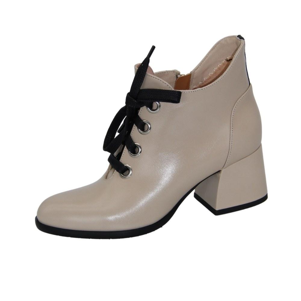 Women's beige ankle boots with medium heels demi-season NEXT SHOES (Poland) Genuine leather, art 2794970-093-bezrd-ibl-nera model 5087