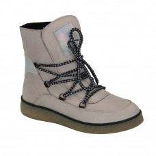Women's beige boots on the platform with lacing winter (Poland) model 5088