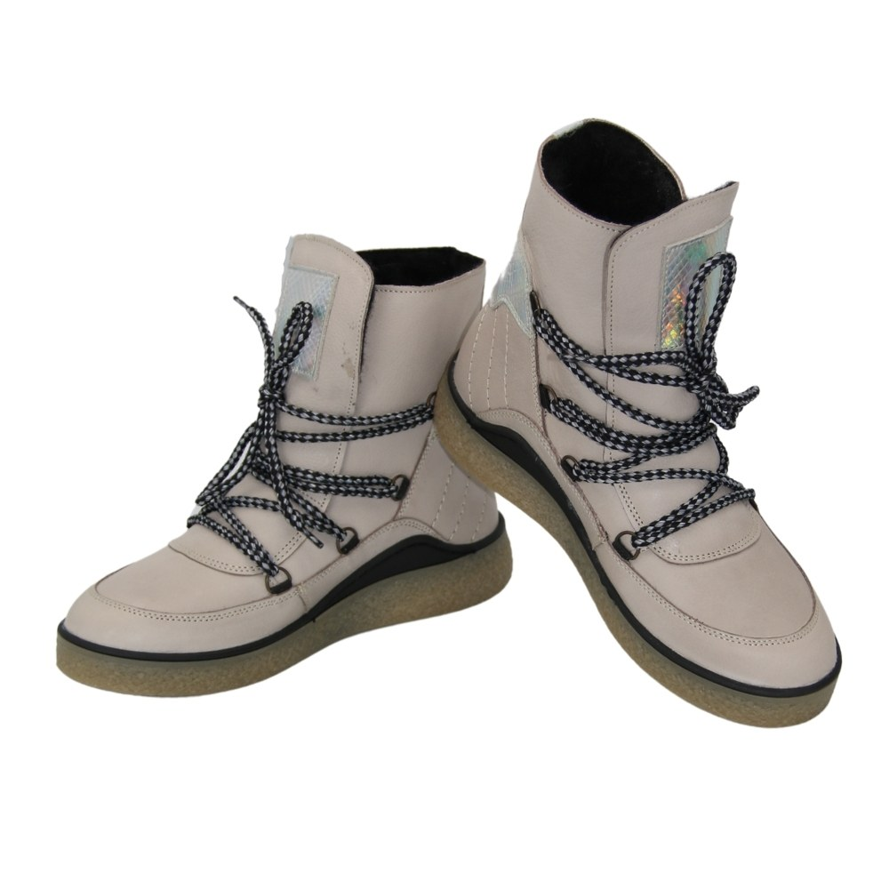 Women's beige boots on a platform with lacing winter NEXT SHOES (Poland) Genuine leather, art 354-349-2340 model 5088