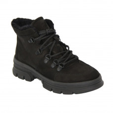 Women's black low shoes on a platform with lacing winter (Poland) model 5089