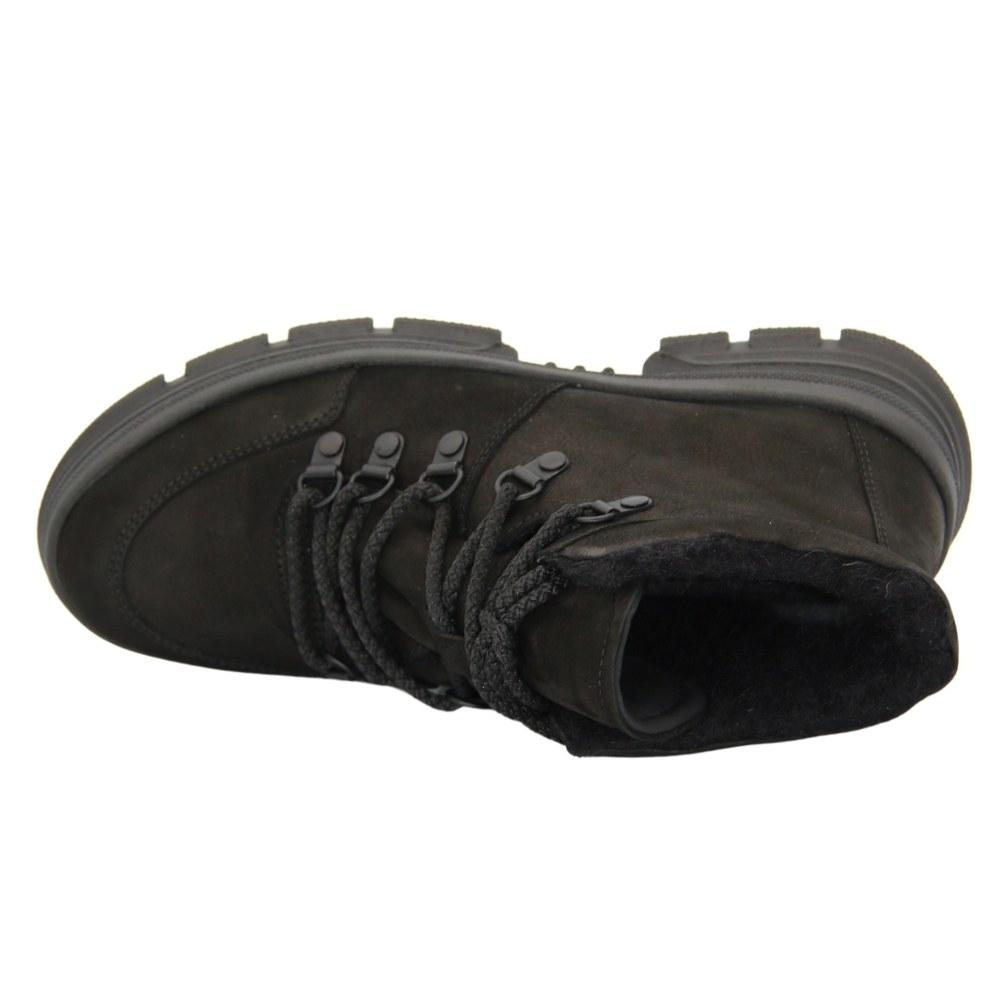 Женские черные полуботинки на платформе со шнуровкой зимние NEXT SHOES (Польша) Натуральный нубук, арт 253-752 модель 5089