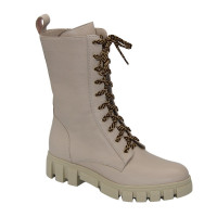 Women's beige ankle boots on a platform with lacing and a snake demi-season (Poland) model 5090