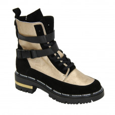 Women's black boots with gold inserts with low heels with lace-up and a snake, demi-season (Poland) model 5091