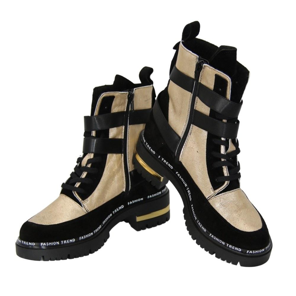 Женские черные с золотистыми вставками ботинки на низком каблуке со шнуровкой и змейкой демисезонные NEXT SHOES (Польша) Натуральная кожа, арт rno-91013-1999-kalina-5 модель 5091