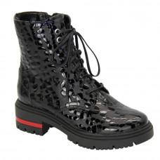 Женские черные ботинки на низком каблуке со шнуровкой и змейкой зимние (Польша) модель 5092