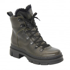 Women's green boots with low heels with laces and a snake winter (Poland) model 5093