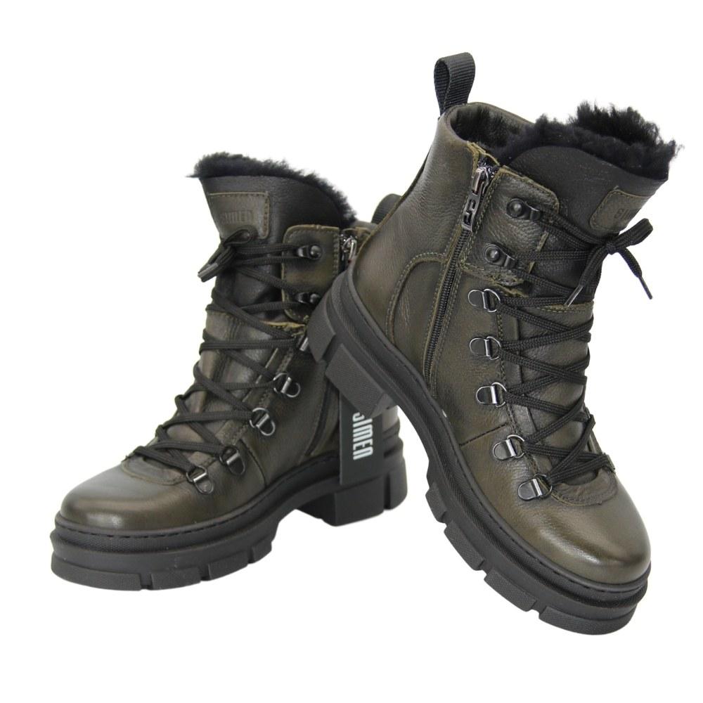 Женские зеленые ботинки на низком каблуке со шнуровкой и змейкой зимние NEXT SHOES (Польша) Натуральная кожа, арт 4392a-zielony модель 5093