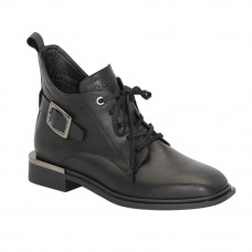 Women's black ankle boots at low speed with lace-up and a snake demi-season (Poland) model 5097
