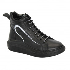Women's black boots at low speed with lacing and a snake, demi-season (Turkey) model 5101