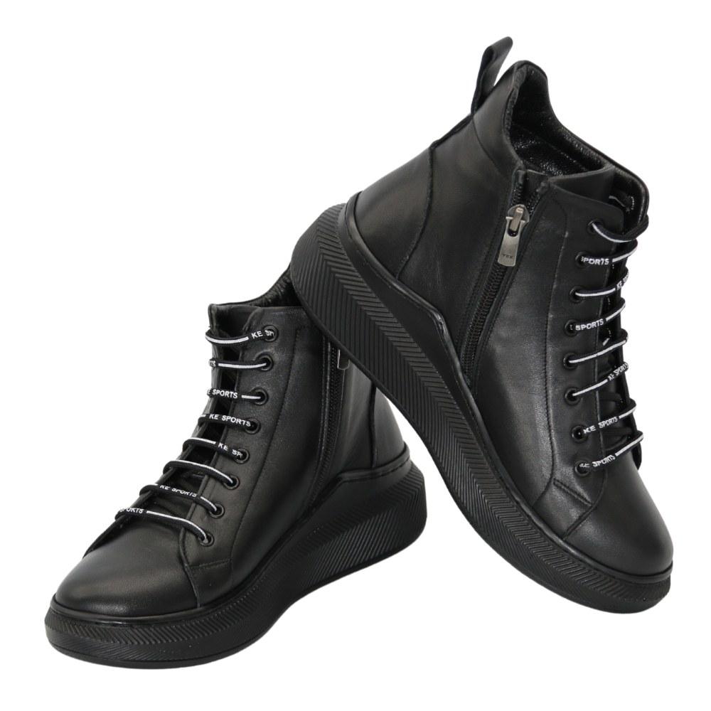 Женские черные ботинки на низком ходу со шнуровкой и змейкой демисезонные NEXT SHOES (Турция) Натуральная кожа, арт 375-705-sa модель 5101