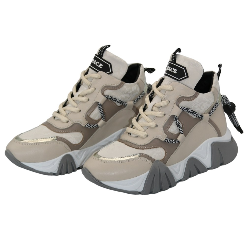 Women's beige sneakers demi-season NEXT SHOES (Turkey) Genuine leather, art 622-7566-sa model 5102