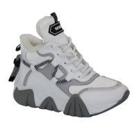Women's white sneakers with winter insulation (Turkey) model 5103