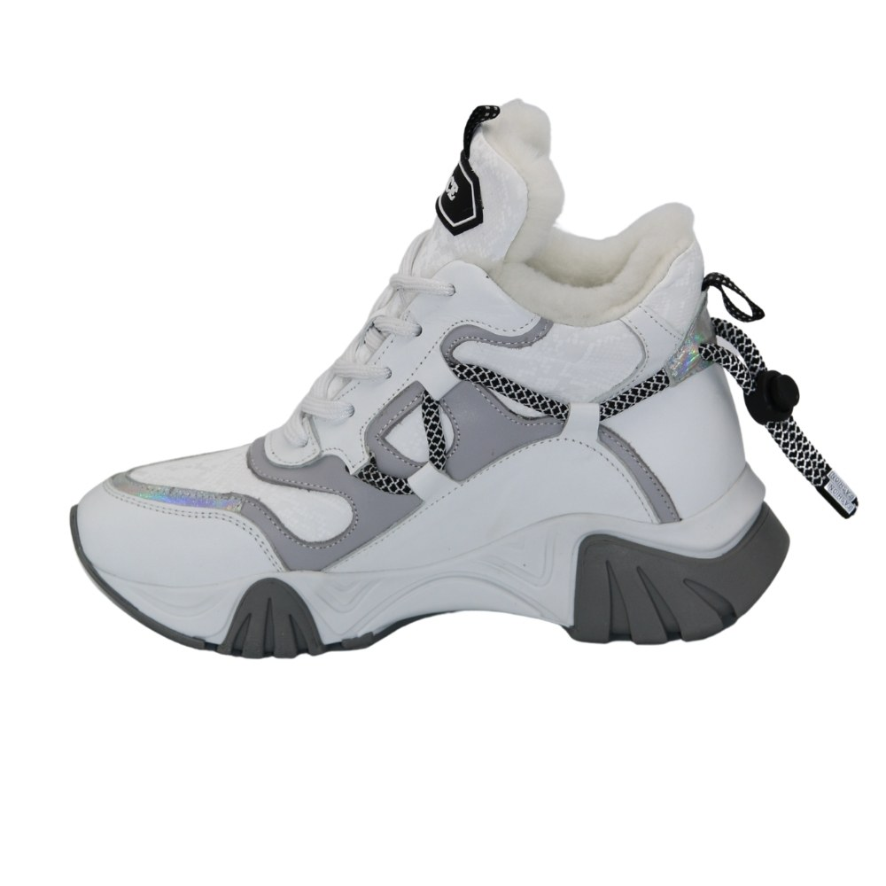 Women's white sneakers with winter insulation NEXT SHOES (Turkey) Genuine leather, art 622-7566-kurk model 5103