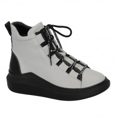 Women's gray boots at low speed with lacing and a snake, demi-season (Turkey) model 5105