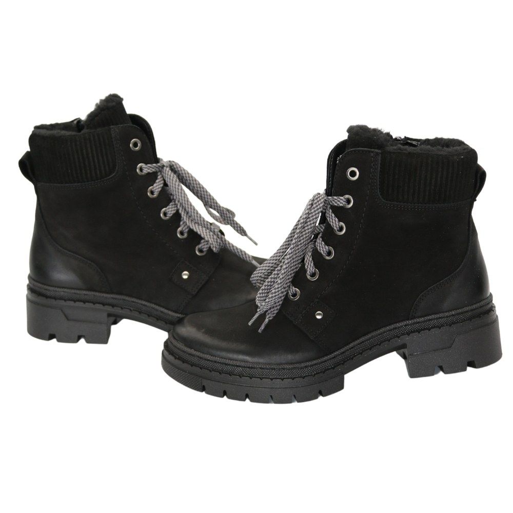 Women's black boots on a low run with lacing and a snake winter NEXT SHOES (Poland) Natural nubuck, art 547 model 5107