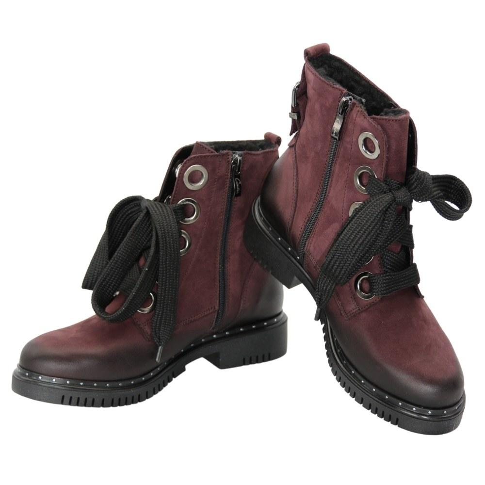 Женские красные ботинки на низком ходу со шнуровкой и змейкой зимние NEXT SHOES (Польша) Натуральный нубук, арт 494s модель 5108