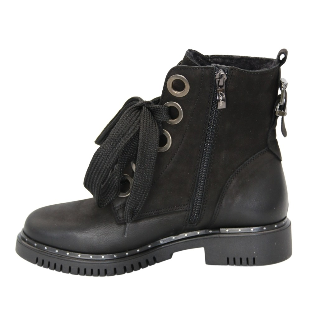 Women's black boots on a low run with lacing and a snake winter NEXT SHOES (Poland) Natural nubuck, art 494s model 5109