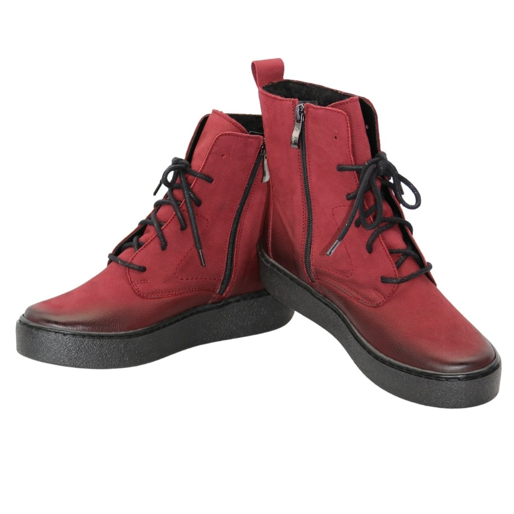 Женские красные ботинки на низком ходу со шнуровкой и змейкой зимние NEXT SHOES (Польша) Натуральный нубук, арт 496s модель 5110