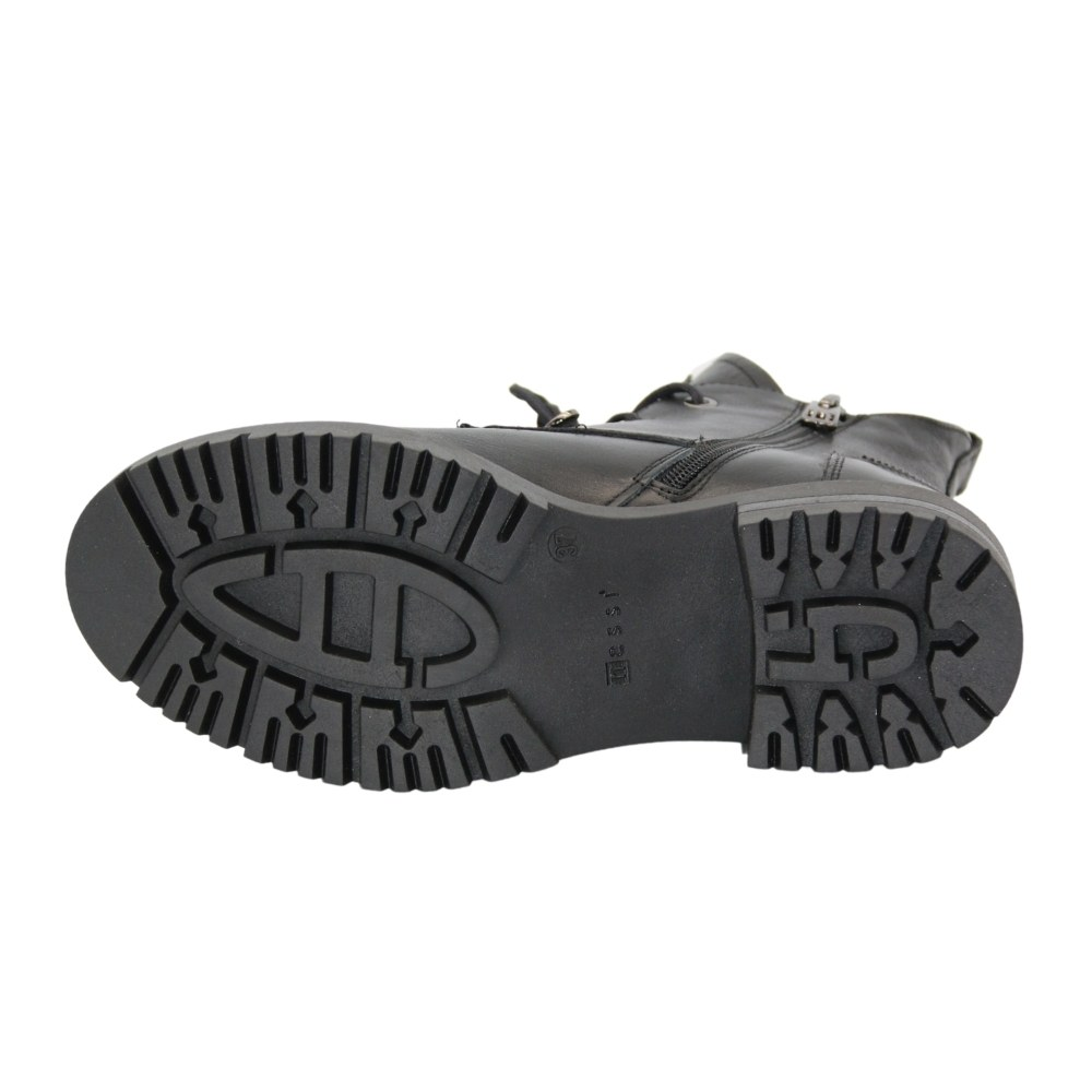 Женские черные ботинки на низком ходу со шнуровкой и змейкой зимние NEXT SHOES (Польша) Натуральная кожа, арт 20748-czarni1 модель 5113