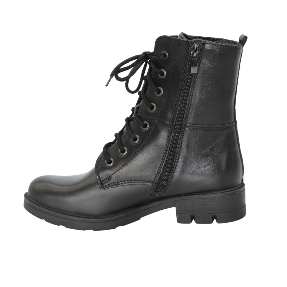 Women's black boots at low speed with lacing and a snake demi-season NEXT SHOES (Poland) Genuine leather, art 191-6477-7-1048 model 5118