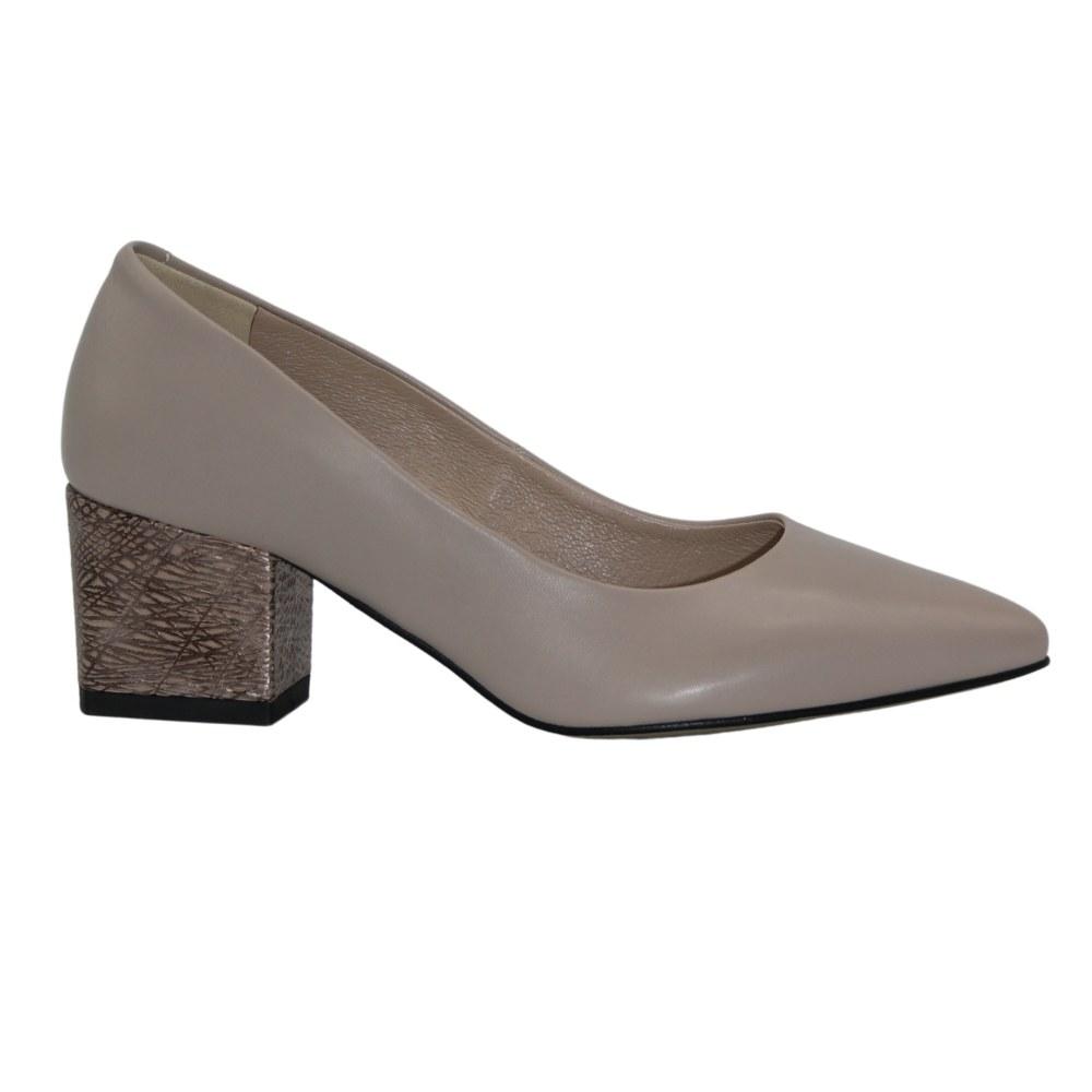 Women's beige shoes with medium heels, demi-season NEXT SHOES (Poland) Genuine leather model 5122