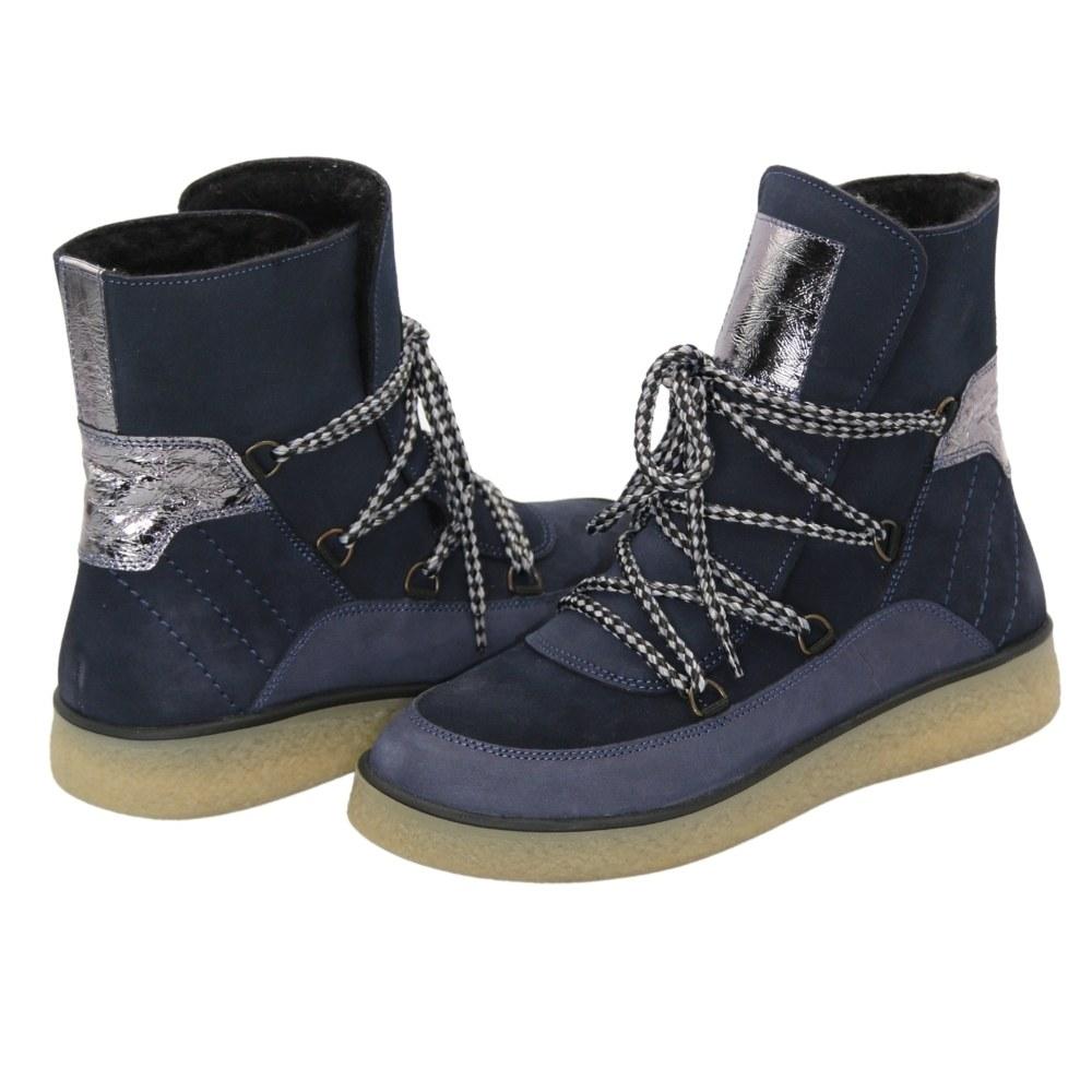 Женские синие ботинки на низком ходу со шнуровкой зимние NEXT SHOES (Польша) Натуральный нубук, модель 5123