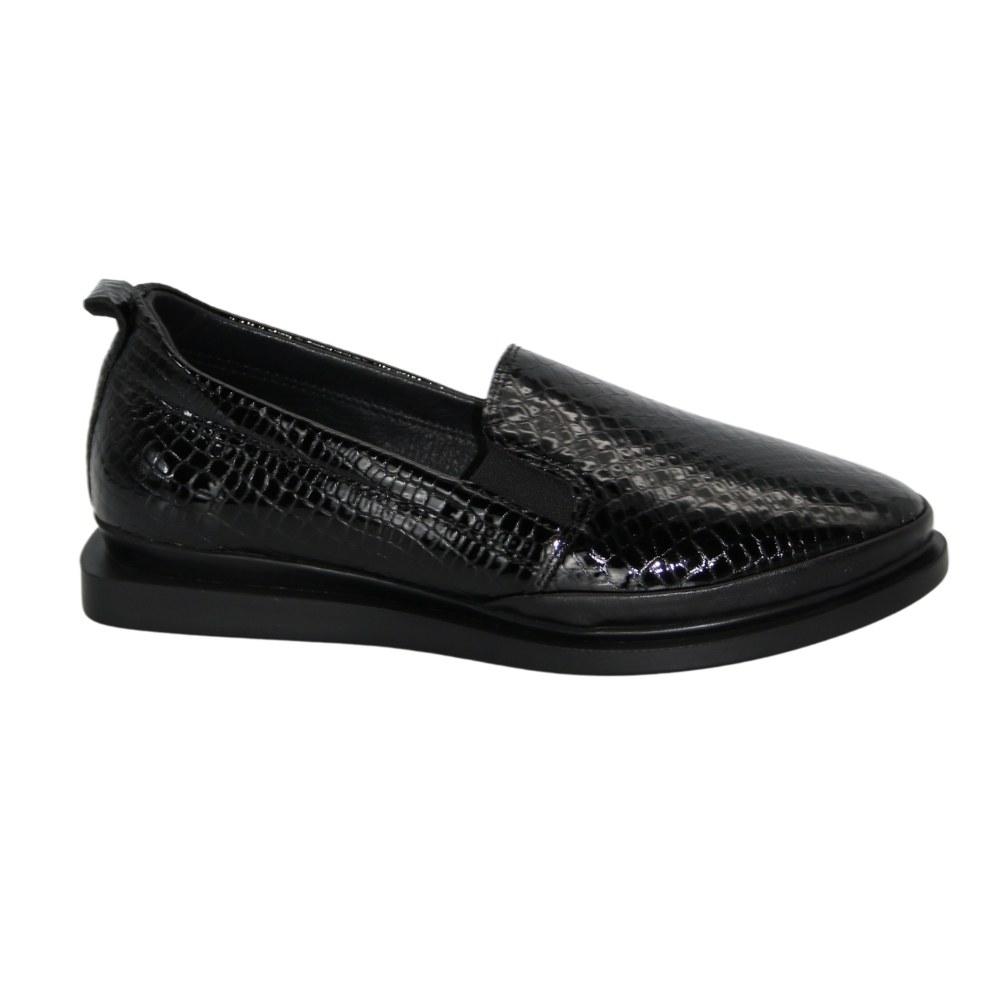 Женские черные туфли демисезонные NEXT SHOES (Турция) Натуральная кожа, модель 5125