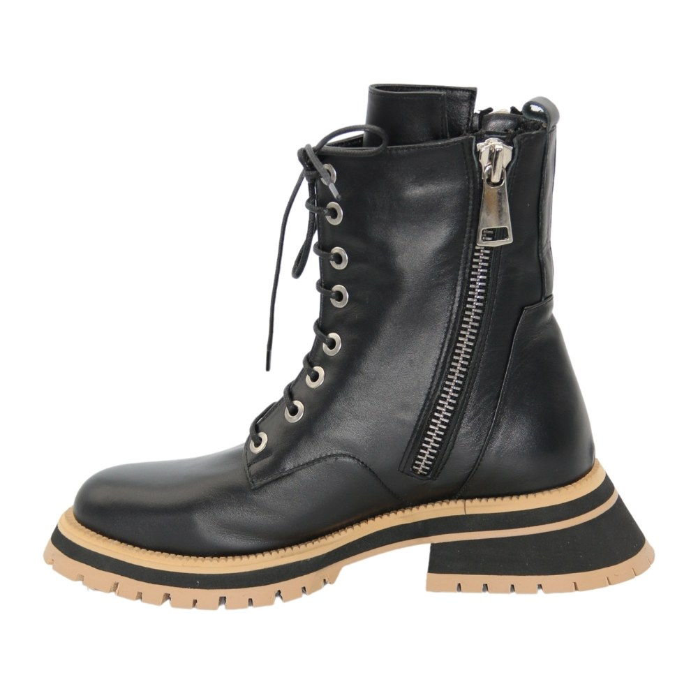 Women's black boots at low speed with lacing demi-season NEXT SHOES (Turkey) Genuine leather, model 5127