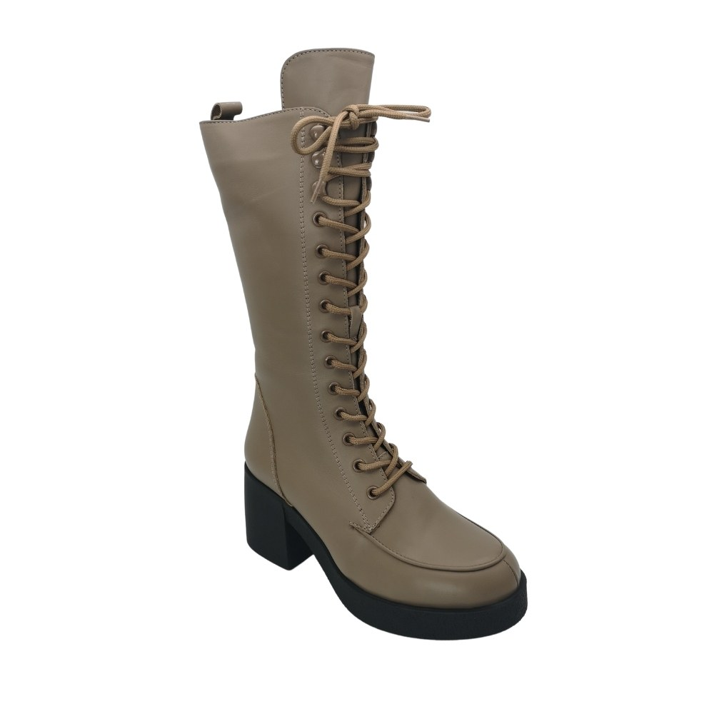 Women's gray boots with lacing winter NEXT SHOES (Turkey) Genuine leather, model 5128