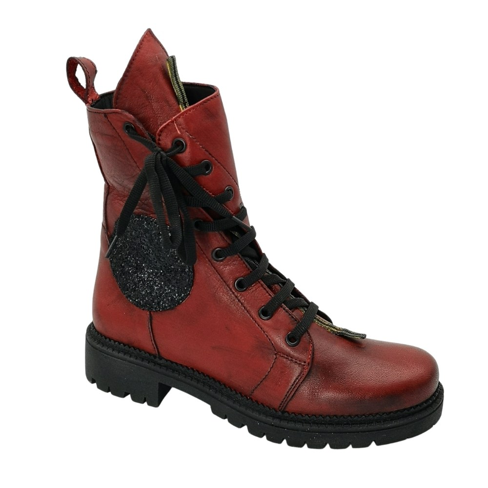 Женские красные ботинки на низком ходу со шнуровкой демисезонные NEXT SHOES (Польша) Натуральная кожа, модель 5129