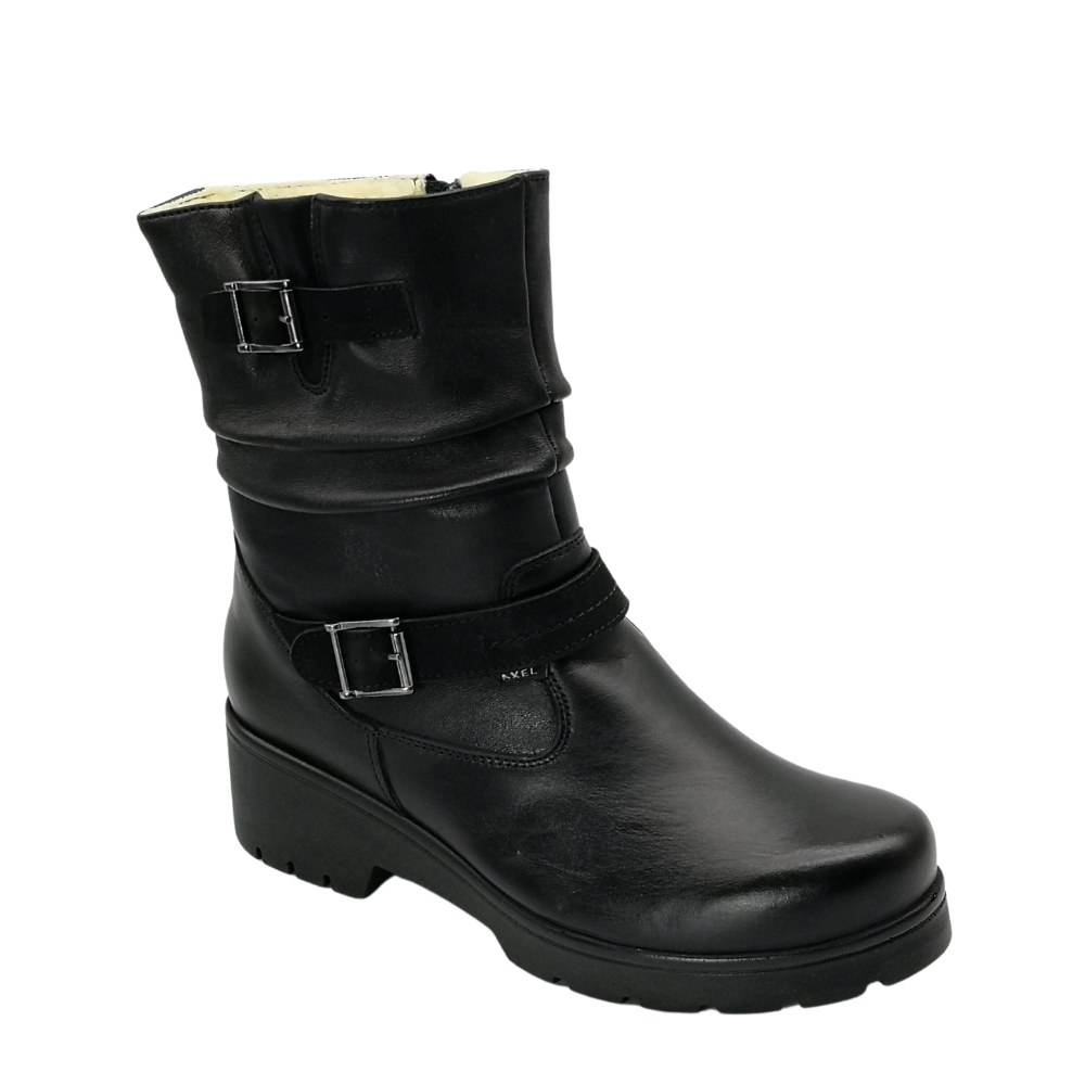 Women's black boots on a low run with a snake winter NEXT SHOES (Poland) Genuine leather, model 5130