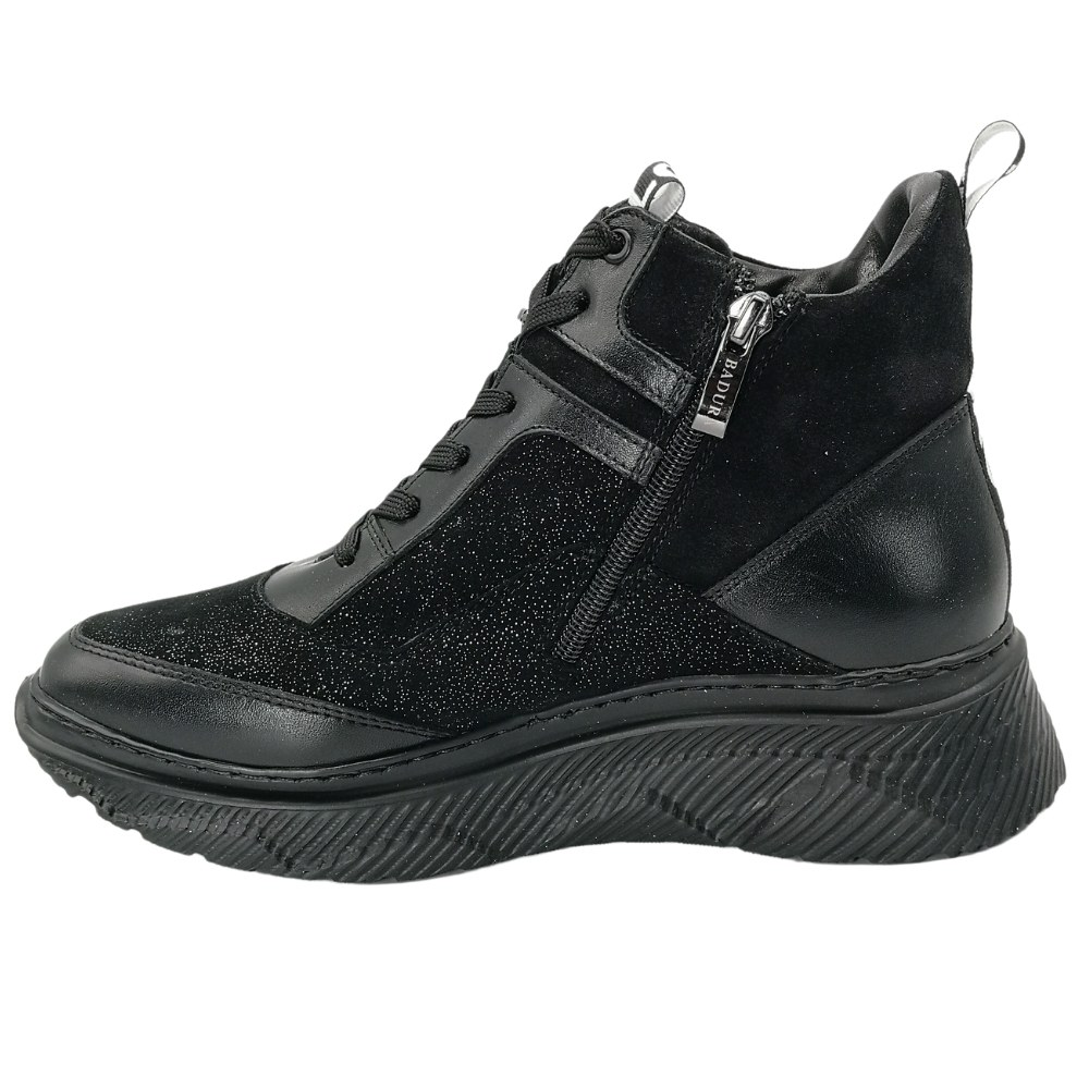 Women's black boots at low speed with lacing and a snake demi-season Badura (Poland) Genuine leather, model 5135
