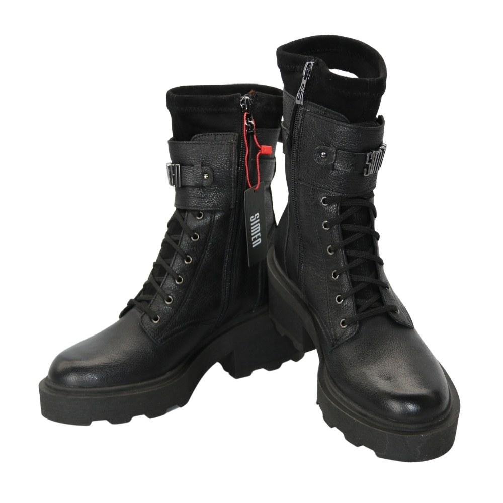 Women's black boots on a low run with lacing and a snake winter NEXT SHOES (Poland) Genuine leather, model 5138