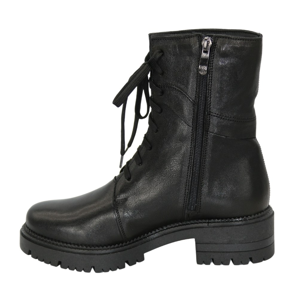 Женские черные ботинки на низком ходу со шнуровкой и змейкой демисезонные NEXT SHOES (Польша) Натуральная кожа, модель 5141