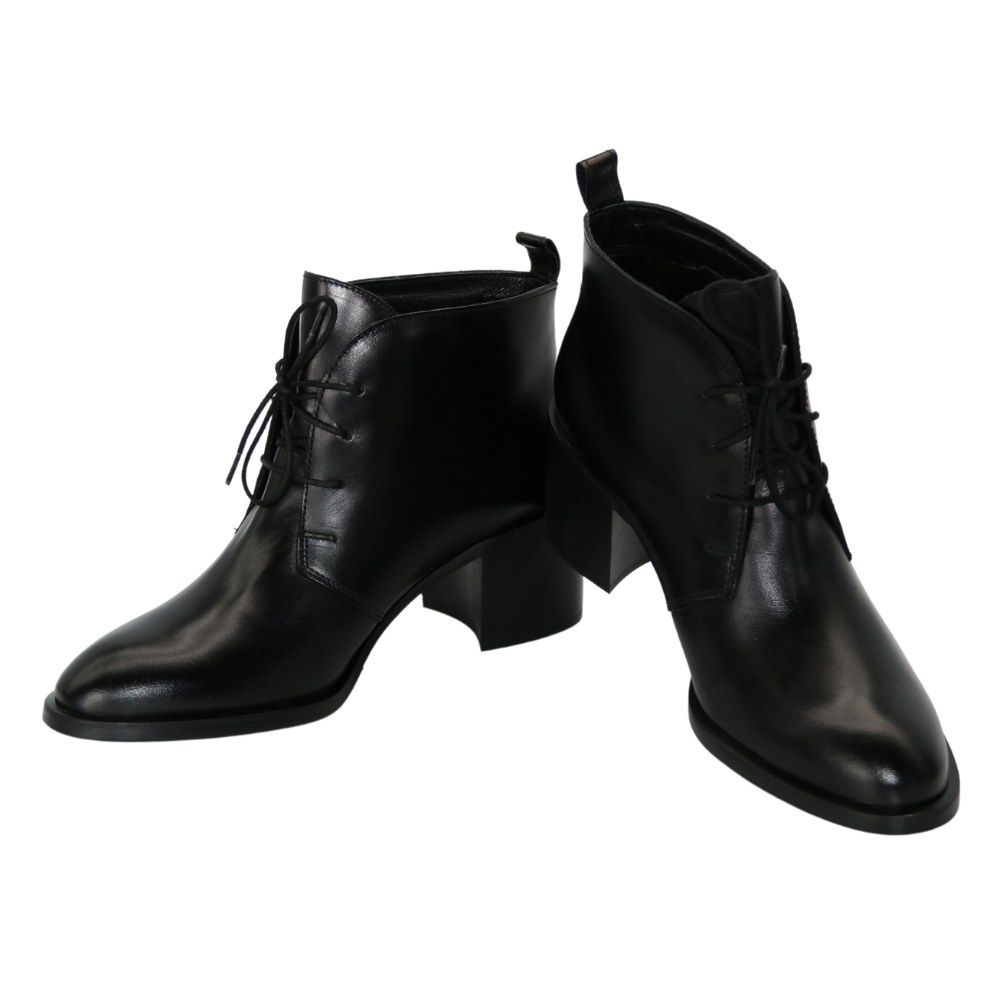 Women's black boots at low speed with lacing and a snake, demi-season NEXT SHOES (Poland) Genuine leather, model 5142