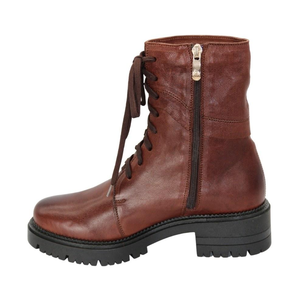 Женские коричневые ботинки на низком ходу со шнуровкой и змейкой демисезонные NEXT SHOES (Польша) Натуральная кожа, модель 5145