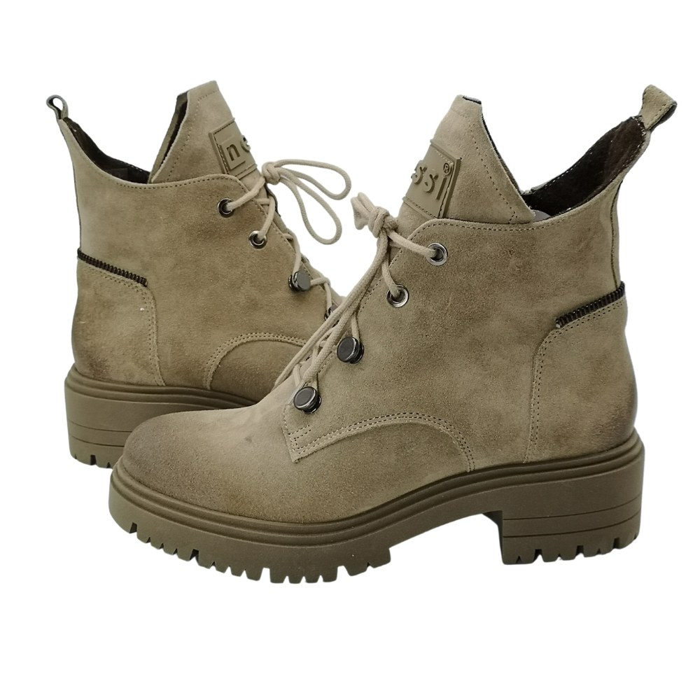 Women's beige low-speed boots with laces and a snake, demi-season NEXT SHOES (Poland) Natural nubuck, model 5155