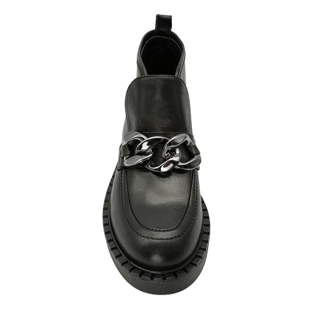 Women's black ankle boots with rings at low speed demi-season NEXT SHOES (Poland) Genuine leather, model 5158