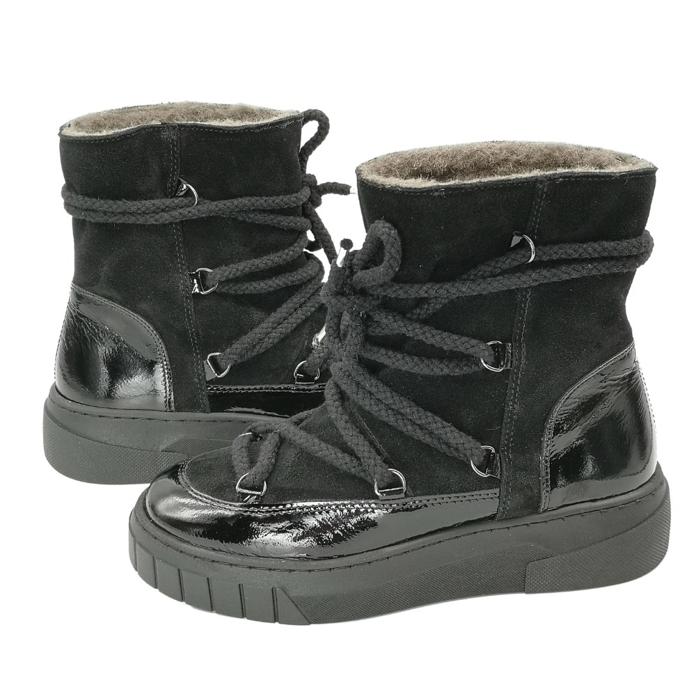 Women's black boots on a low run with lacing and a snake winter NEXT SHOES (Poland) Genuine leather, model 5159