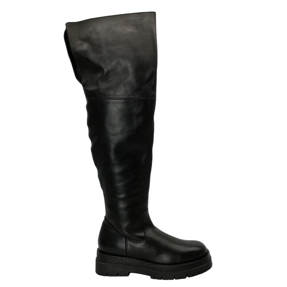 Женские черные сапоги зимние NEXT SHOES (Польша) Натуральная кожа, модель 5161