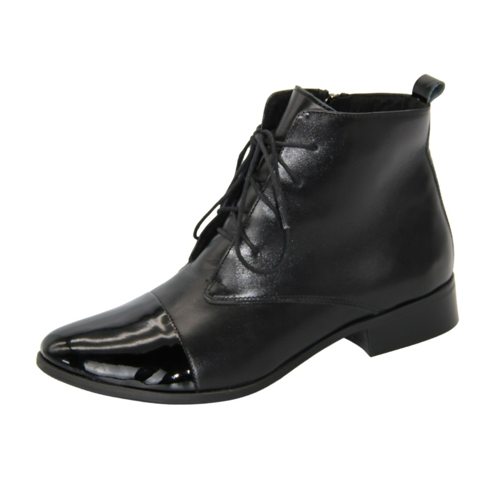 Women's black low-speed boots with lacing and a snake demi-season NEXT SHOES (Poland) Genuine leather, art model C-16